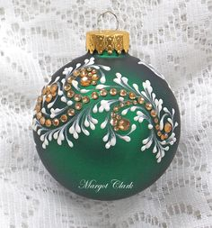 Dark Green Hand Painted 3D MUD Floral Texture Design with Bling 425 by MargotTheMUDLady on Etsy