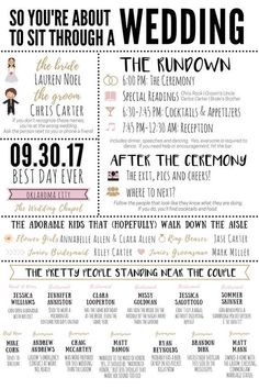 Funny Infographic Wedding Program / Games & Activities / Word Search / Custom / Mad Lib / Printable / / Popular / Funny Facts - ä_Boda_invitacion - The Plan, How To Plan, Wedding Planning Tips, Wedding Tips, Wedding Favors, Wedding Party List, Wedding To Do List, Wedding Registry Ideas, Wedding Guest List