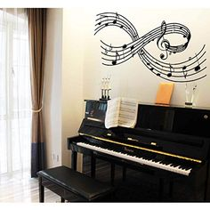 Olivia Large Music Notes Wall Decals DIY Removable Scale Tabs Wall Stickers  Rhythm Staff Graphic Design Vinyl Musical Mural Decor Art For Living Room  Teen ...