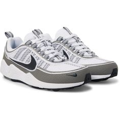 Nike Air Zoom Spiridon Rubber-Panelled Mesh Sneakers (495 BRL) ❤ liked on Polyvore featuring men's fashion, men's shoes, men's sneakers, mens mesh shoes, nike mens shoes, mens mesh sneakers, mens lace up shoes and mens rubber shoes
