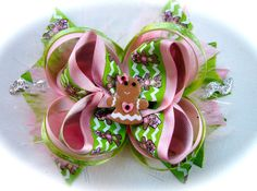 Pink and Green Gingerbread Man Christmas Hair Bow with Feathers