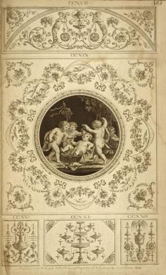Central design of four cherubs eating grapes.: