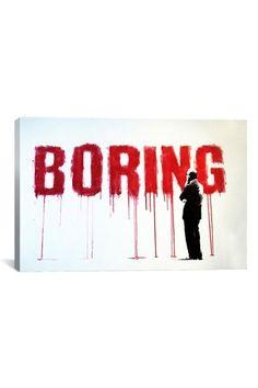 Banksy Boring 18in x 12in Canvas Print