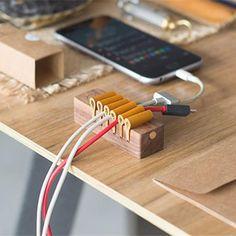 Wooden Desktop Cable Organizer