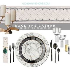 :: ROCK THE CASBAH :: A bit of Rock n Roll, a lot of glam and a touch of exotic flair... Our latest 1-click celebration collection for home entertaining or wedding registry by @alchemyfinehome including marbled China, Italian black flatware, handcrafted glassware and all accessories for a well appointed modern glam tablescape. Shop via our curated collections to save 15% vs purchasing items individually. | #weddingregistry #homedecor #alchemyfinehome #decor #tablescape #tablesetting…