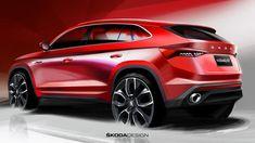 Skoda Confirms China-Only Kodiaq GT Coupe Crossover With A Trio Of Sketches Car Design Sketch, Car Sketch, Suzuki Wagon R, Automobile, Honda City, Transportation Design, Automotive Design, Toyota Corolla, Motor Car