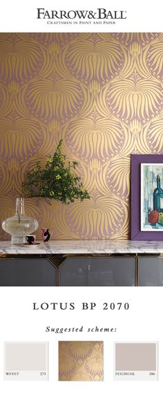 We've re-imagined our Art Nouveau inspired Lotus design in a full range of luxurious metallic paints. Here, a ground colour of Sulking Room Pink creates the perfect backdrop against a shimmering gold pattern. Paint Color Schemes, House Color Schemes, Living Room Color Schemes, Wall Paint Colors, Bedroom Paint Colors, Paint Colors For Living Room, Room Colors, House Colors, Metallic Wallpaper