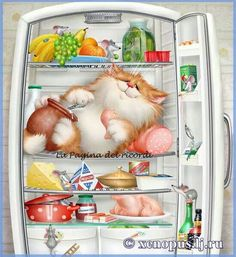 Diy Diamond Painting Cartoon Cat in Fridge Diamond Cross Stitch Unfinished Decorative Square Diamond Embroidery I Love Cats, Crazy Cats, Cute Cats, Gatos Cats, Photo Chat, Tier Fotos, Here Kitty Kitty, Cross Paintings, Cat Drawing