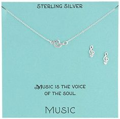 """Sterling Silver Treble Clef Necklace and Earrings Jewelry Set, 18"""" * Check this awesome image @ http://www.passion-4fashion.com/jewelry/sterling-silver-treble-clef-necklace-and-earrings-jewelry-set-18/?de=100716175707"""