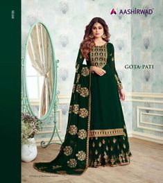 Green Georgette Embroidered Skirt Kameez For Mehandi Ceremony Gota Pati 8230 By Aashirwad Creation Sharara Suit, Salwar Kameez, Anarkali Suits, Punjabi Suits, Pakistani Suits, Churidar, Designer Salwar Suits, Designer Dresses, Designer Anarkali
