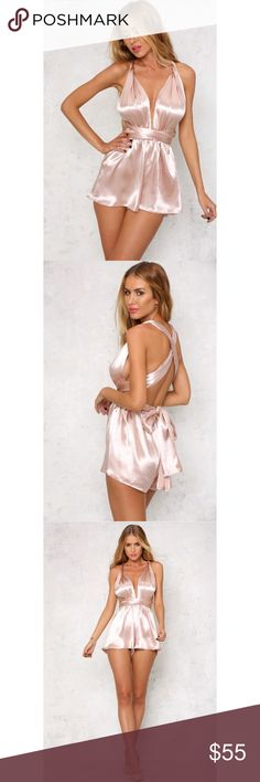 Spring Sale 🌸🌸Multi-way Champagne Romper 💗 ACTUAL PHOTOS. (Please only serious inquiries if needing measurements) this romper is exactly as the title says:) can be worn in different ways. So cute for going out or a date night. Pairs perfectly with lace up heels. 😍 solaris Pants Jumpsuits & Rompers