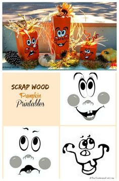 Scrap Wood Pumpkins - DIY Fall Pumpkin Project Use reclaimed wood and my printable to make these ado Halloween Wood Crafts, Halloween Signs, Fall Crafts, Fall Halloween, Holiday Crafts, Halloween Decorations, Wood Projects For Kids, Kids Wood, Fall Projects
