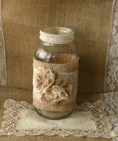 Burlap wedding FLOWER vase, ViNTAGE LACE candle holder, FALL WEDDiNG, rustic…