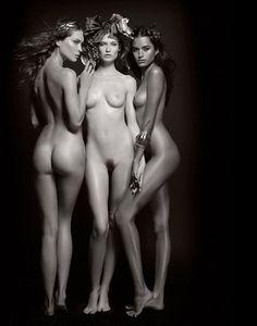 Nude wet bent over women