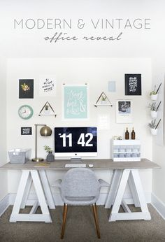 What do you need, exactly, to create a little home office corner in a bedroom or spare room or even your living room? Home Office Space, Home Office Decor, Office Furniture, Home Decor, Office Spaces, Office Ideas, Rustic Office, Vintage Office, Office Makeover