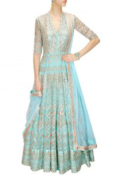 This Powder Blue Anarkali Lehenga is featuring in net fabric embellished with traditional gota patti embroidery.This Powder Blue Anarkali Lehenga has mandarin collar. This Powder Blue Anarkali Lehenga Anarkali Lehenga, Lehenga Choli Online, Bridal Lehenga, Silk Lehenga, Sabyasachi, Pakistani Outfits, Indian Outfits, Saris, Ethnic Fashion