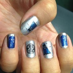 An entire day late but I didn't wanna rush this manicure -- finally using my doctor who nail decals :) #LLfandom #doctorwho #drwho 2014 mani 32
