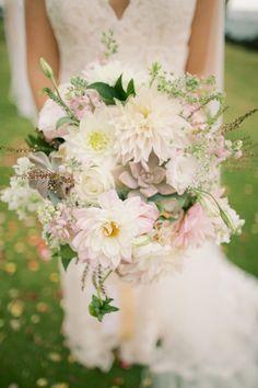 Dahlia, rose, hydrangea, and succulent wedding bouquet: http://www.stylemepretty.com/destination-weddings/hawaii-weddings/2016/10/19/their-wedding-cake-doubled-as-a-baby-gender-reveal/ Photography: Anna Kim - http://annakimphotography.com/