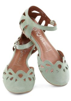 Refresher Course Flat by Jeffrey Campbell - Green, Solid, Cutout, Flat, Leather, Casual, Pastel