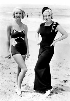 thisisnodream:    Bette Davis and Joan Blondell, circa early 1930s.    Love the nautical flags on that dress!!!