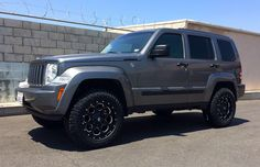 Lifted Jeep Liberty Sport with Superlift, Goodyear Wrangler Duratracs, satin black Fuel wheels. Auto Jeep, Jeep Wj, Jeep Wrangler Yj, Jeep Truck, Jeep Liberty Lifted, 2010 Jeep Liberty, Jeep Liberty Sport, Jeep Patriot, Carros Off Road
