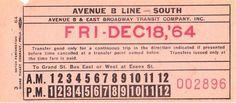 Transfer from Avenue B & East Broadway Transit Company (Manhattan borough, New York City) (1964)