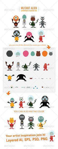 Alien Creation Kit — Photoshop PSD #inspiration #alien • Available here → https://graphicriver.net/item/alien-creation-kit/637766?ref=pxcr