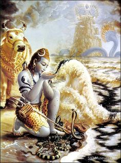 hindu god of moon | Image of the Hindu god Shiva with Chandra crescent moon on his head.