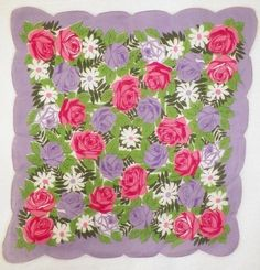Vintage Purple Hanky with Floral Design offered by The Pink Poodle
