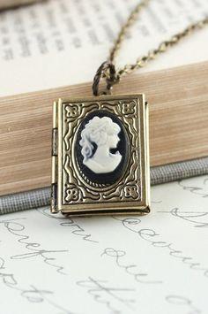 Book Locket Necklace Lady Face Profile Cameo