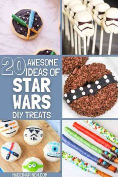 Looking for yummy and easy DIY Star Wars Treats for a Star Wars fan in your life? Celebrate May the Fourth by making any of these special Star Wars desserts and snacks. They would make festive desserts, snacks, party food, or movie night treats. #starwars #starwarstreats #desserts | Made in A Pinch @madeinapinch