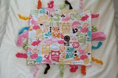 Girl Woodland Owl Baby Blanket Lovie with Crochet and Minky Tags - Baby Taggie Blanket
