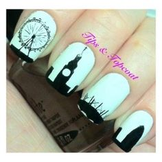 London Silhouette Nails i-love-nails Get Nails, Love Nails, How To Do Nails, Pretty Nails, Hair And Nails, Fall Nail Art, Cute Nail Art, Silhouette Nails, London Nails