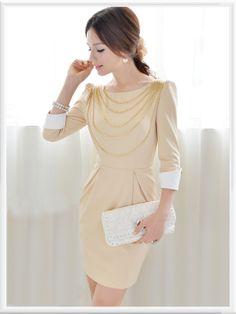 Morpheus Boutique  - Beige Chain 3/4 Sleeve Shoulder Pencil Dress