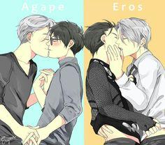 Victor Nikiforov x Yuri Katsuki | Agape and Eros | Credits: http://eryen-art.tumblr.com/ | Yuri!!! on Ice