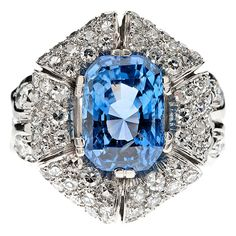 1950s Cornflower Blue 7.75 carat Sapphire & Diamond Ring