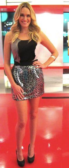 E! News host, Ashlan Gorse wearing Naven's Onyx Sequin Mini