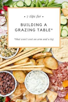 Easy tips on creating a beautiful grazing table that will wow your party guests. With a grazing table, party prep is fun again and the pressure is off—because there are no recipes, rules or forgotton ingredients. Charcuterie And Cheese Board, Charcuterie Platter, Cheese Boards, Appetizers For Party, Appetizer Recipes, Grazing Platter Ideas, Diy Dessert, Party Food Platters, Food Trays