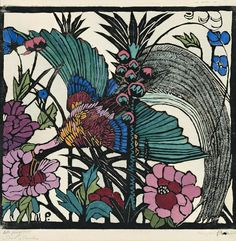 Margaret Preston,Bird Of Paradise, 1925 (combined board with Margaret Olley)