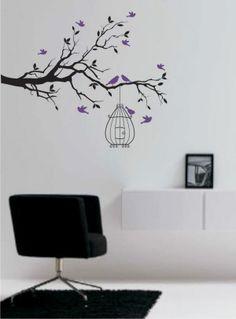 Adesivo - árvore com pássaros e gaiola