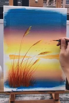 Cute Canvas Paintings, Canvas Painting Tutorials, Diy Canvas Art, Acrylic Painting Canvas, Beach Paintings, Beach Scene Painting, Sunrise Painting, Art Painting Gallery, Cool Art Drawings