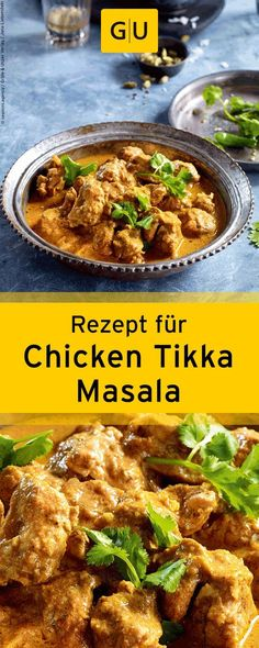 "Rezept f& Chicken Tikka Masala aus dem Buch ""Currys"". Curry Recipes, Thai Recipes, Indian Food Recipes, Asian Recipes, Chicken Recipes, Healthy Recipes, Recipe Chicken, Indian Snacks, Butter Chicken"
