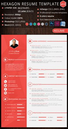 Hexagon Creative Resume Template Design  Graphic Design Resume Template