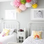 girl's rooms - General Paint - Dishwater - gray walls pom poms  Sweet girls' room with gray walls paint color, restoration hardware baby & Child