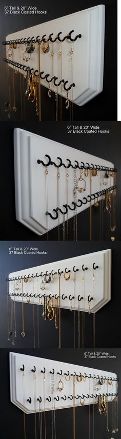 Multi-Purpose 168165: 6X20-White 37-Black, Jewelry Organizer Hanging Necklace Holder Display Wall Rack -> BUY IT NOW ONLY: $34.99 on eBay!