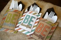 Free Thanksgiving Printables...cute way to dress up plasticware