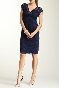 Marina Tiered Lace Sequin Dress (Petite) by Marina on @nordstrom_rack