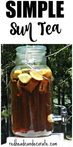As long as I can remember my Mom and sisters have always made this simple sun tea recipe.  We lived in an apartment when I was in high school and my Mom would set it on the sunny balcony to brew 8-) .
