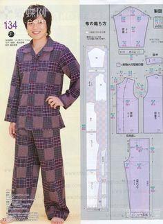Fashion Sewing, Kimono Fashion, Diy Fashion, Clothing Patterns, Dress Patterns, Sewing Patterns, Pajama Pattern, Pants Pattern, Sewing Men