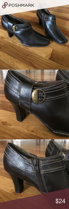 """Brown booties In excellent condition, like new! 2.5 """" heel. Dark brown with stitching. Zipper in the inside of each foot,  buckle detail on the outside of each foot. A2 By Aerosoles Shoes Ankle Boots & Booties"""